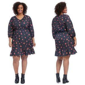 HUTCH Anthropologie Heart Print Blouson Dress
